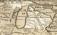 Carte du Michigan en Nouvelle-France par Guillaume Delisle en 1718.