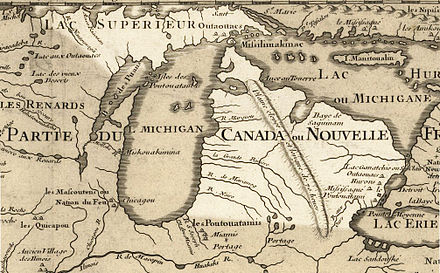 Approximate area of Michigan highlighted in Guillaume de L'Isle's 1718 map Michigan 1718.jpg