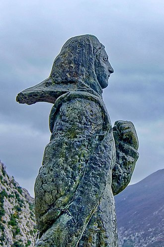 Mila Gojsalić - Mila Gojsalić by Ivan Meštrović, bronze, at Gata near Omiš, Croatia, above the mouth of Cetina River