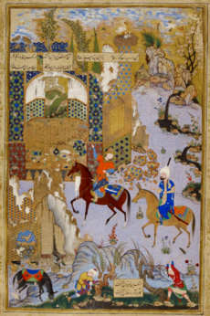 Mir Musavvir, Nushirvan and the Owls, Khamsa Nizami, 1539-40, British Library.png