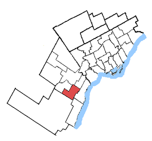 Mississauga—Erindale - Mississauga—Erindale in relation to other Greater Toronto ridings