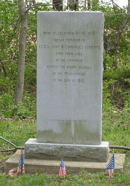 Memorial to the U.S. Soldiers who died at the Battle of Mississinewa Mississinewa US Troop Memorial 0213.jpg