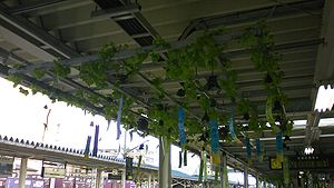 Mizusawa Station - Wind chimes at the Mizusawa Station platform
