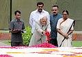 Mohd. Hamid Ansari paying floral tributes at the Samadhi of the former Deputy Prime Minister, Babu Jagjivan Ram, on his 26th death anniversary, at Samta Sthal, in Delhi. The Speaker, Lok Sabha.jpg
