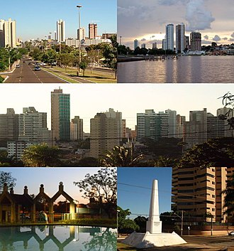 Campo Grande - Top left:Afonso Pena Avenue (Avenida Afonso Pena), Top right:Afonso Pena area and Nacoes Indigenas Park (Parque das Nacoes Indigenas), Center:A panoramic view of Centro area, Bottom left:Horto Florestal Garden, Bottom right:A obelisk in Jose Antonio Street