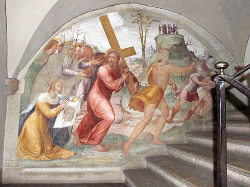 Abbazia di Monte Oliveto Maggiore, passaggio tra chiostro e chiesa, Il Sodoma, Cristo porta croce