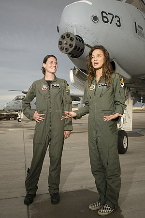Terminator Salvation - Capt. Jennie Schoeck and actress Moon Bloodgood (right) in front of an A-10 Thunderbolt II during the production of Terminator Salvation at Kirtland Air Force Base, N.M.