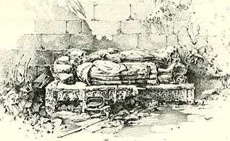 Joan Stewart, Countess of Morton - The tombs of Lord and Lady Morton as they appeared in 1902. Note the blank faces and missing hands