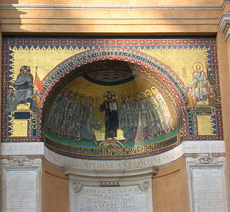 Lateran Palace - Copy of the Byzantine mosaics that used to be on the apse of the Leonian Triclinium, one of the main halls of the ancient Lateran palace