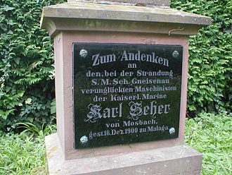 SMS Gneisenau (1879) - Memorial for a sailor killed aboard Gneisenau