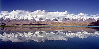 Bolor-Tagh - The range of Bolor-Tagh with Karakul Lake in the foreground.