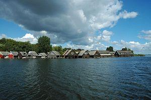 Müritz - Boathouses in front of Röbel