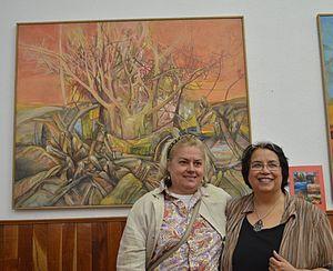 Silvia Barbescu - Barbescu (left) with Lilia Cardenas at the Mujeres en el Arte exhibit at the Casa de Coahuila in Mexico City