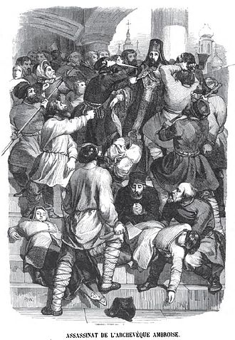 Moscow plague riot of 1771 - The murder of Archbishop Ambrosius. Engraving by Charles Michel Geoffroy, 1845