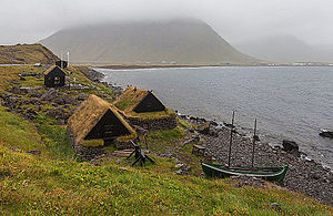 Maritime museum - A maritime museum located in the village of Bolungarvík, Vestfirðir, Iceland showing a double 19th century fishing base, a salt hut, a fish drying area, a drying hut and a typical fishing boat of the time.