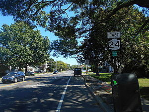 New York State Route 24 - NY 24 eastbound after Secatogue Avenue in Farmingdale
