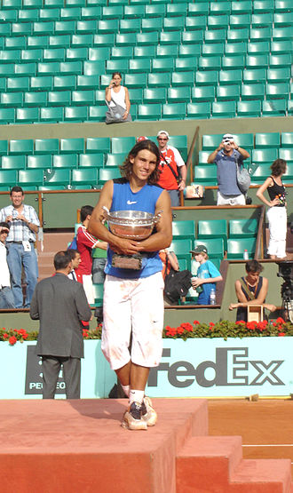 Stade Roland Garros - Rafael Nadal displaying La Coupe des Mousquetaires after winning his second French Open title in 2006.