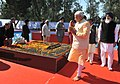 Narendra Modi paying homage to Shaheed Bhagat Singh, Rajguru and Sukhdev at National Martyrs Memorial, at Hussainiwala, in Punjab. The Chief Minister of Punjab, Shri Parkash Singh Badal and other dignitaries are also seen (1).jpg