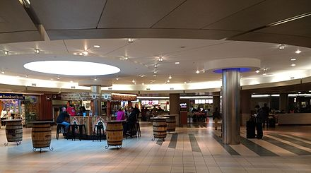 Interior of an airport terminal Nashville International Airport restaurants.jpg