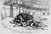 Thomas Nast denounces Tammany as a ferocious tiger killing democracy; the tiger image caught on.