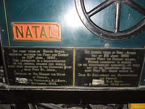Natal Railway 0-4-0WT Natal - Commemorative plaque on Natal