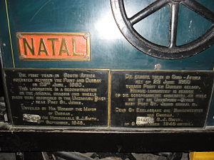 Natal Railway 0-4-0WT Natal - Commemorative plaque on Natal