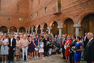 Swedish nationality law - Swedish citizenship ceremony inside Stockholm City Hall on 6 June 2011.