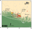 Aftershock map Nepal