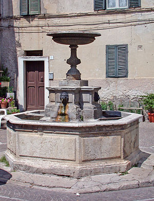 Nerola - The fountain in the town hall square.