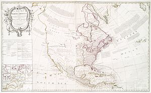 "The Californias - A New Map of North America, produced in London following the 1763 Treaty of Paris, five years before the establishment of the Province of the Californias. Note the name ""California"" placed on the Baja California Peninsula."