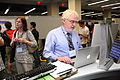 New Wikipedian at the APS Wikipedia booth, 2011-05-26.jpg