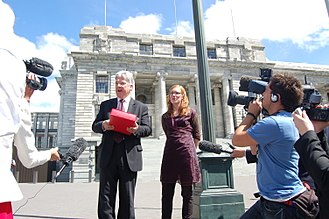 Bronwyn Holloway-Smith - Holloway-Smith with Peter Dunne at an Internet Blackout protest in February 2009