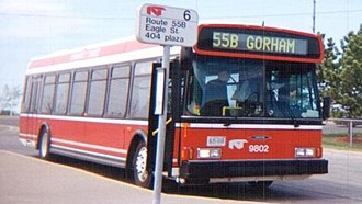 Newmarket Transit - Newmarket Transit 1998 Orion VI on 55B Gorham route. (Now YRT route 56.) April 15, 1999.