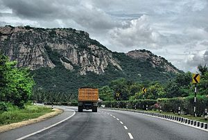 Indian road network - NH76: Part of India's recently completed 4-lane Golden Quadrilateral highway network