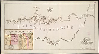 Berbice - Map of Berbice around 1740.