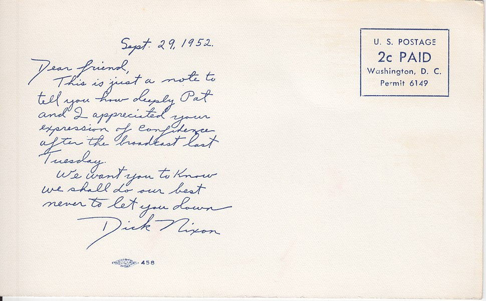 Nixon 1952 postcard