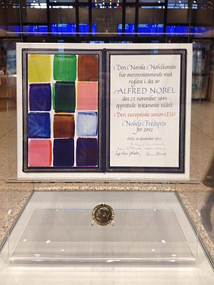 2012 Nobel Peace Prize - The medal and the certificate exposed at the European Commission