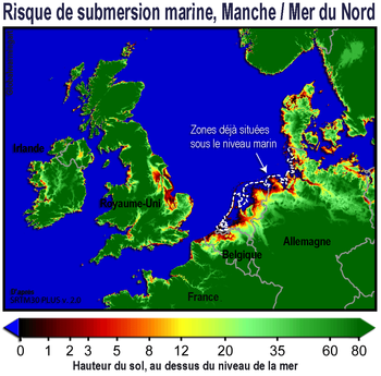 Zones à risques de submersion, pour l'Europe