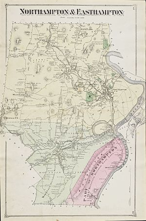 Smith's Ferry, Holyoke, Massachusetts - A map of Northampton and Easthampton in 1873, with the Smith's Ferry annex highlighted in red.