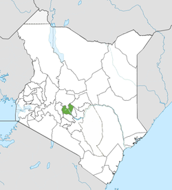 Location of Nyeri County (Green)