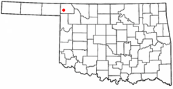 Location of Laverne, Oklahoma
