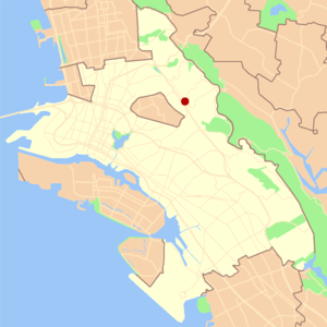 Montclair, Oakland, California - Image: Oakland montclair locator map