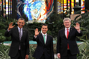 North American Free Trade Agreement - Obama, Peña Nieto and Harper at the IX North American Leaders' Summit (informally known as the Three Amigos Summit) in Toluca.