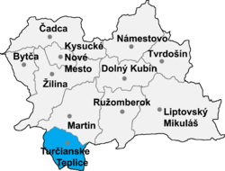 Localisation du district de Turčianske Teplice  dans la région de Žilina (carte interactive)