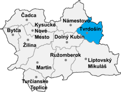Location of Tvrdošīnas apriņķis