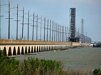 Galveston Causeway - The old 1912 Galveston Causeway, now in use as a railroad bridge.