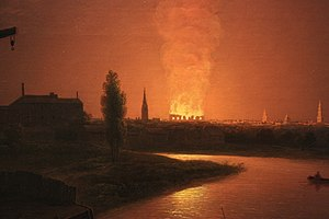 Abraham Pether - Old Drury Lane Theatre  on fire 1809 (detail), by Abraham Pether