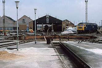 "Old Oak Common TMD - The former western turntable in 1980s looking east, with ""The Factory"" buildings to the rear"