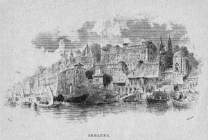 Copy of an old etching of the ghats of the anc...