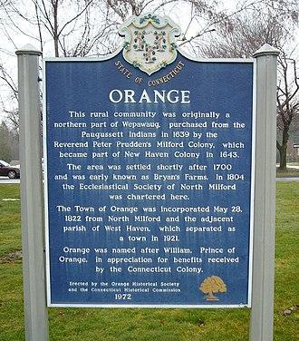 Orange, Connecticut - Image: Orange CT historic marker